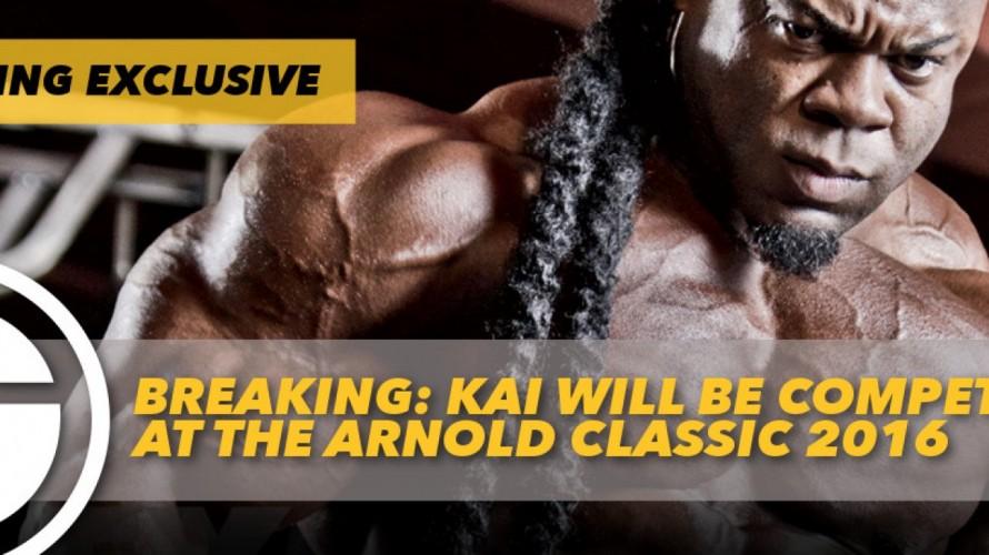 O Kai Greene επιβεβαιώνει επισήμως τη συμμετοχή του στο Arnold Classic 2016 (Video).