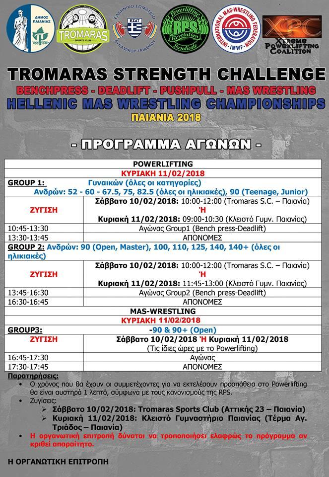 Πρόγραμμα Tromaras Strength Challenge 2018